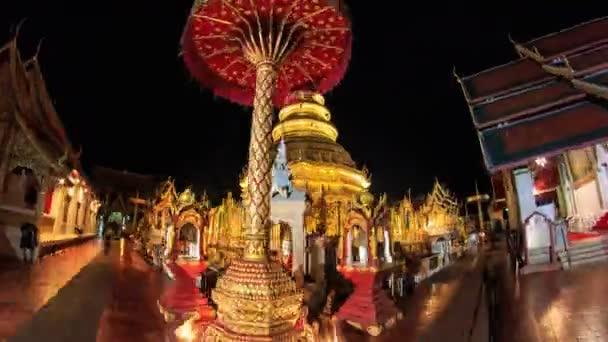Wat Phrathat Hariphunchai Voramahvihan Temple Landmark Travel Place of Lumphun, Thailand 4k Hyperlapse Night to Day