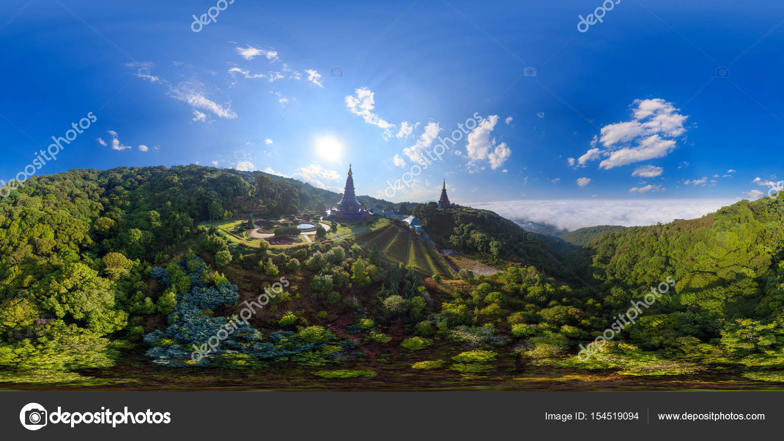 Aerial Panorama Of Doi Inthanon National Park ChiangMai Thailand Full VR 360 Degree Seamless Spherical Photo By Punyafamily