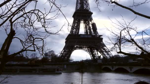 flooded River Seine with the Eiffel Tower in the background