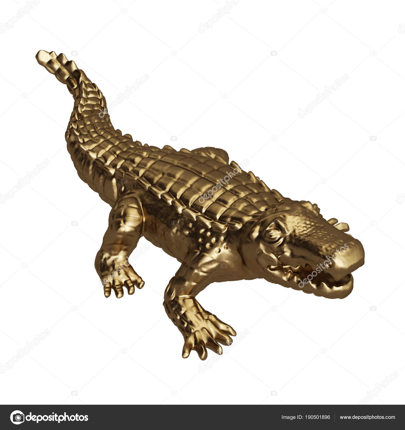 60b2514e3 Crocodilo Dourado Escultura Isolado Fundo Branco Processamento Digital  Illustration — Fotografia de Stock