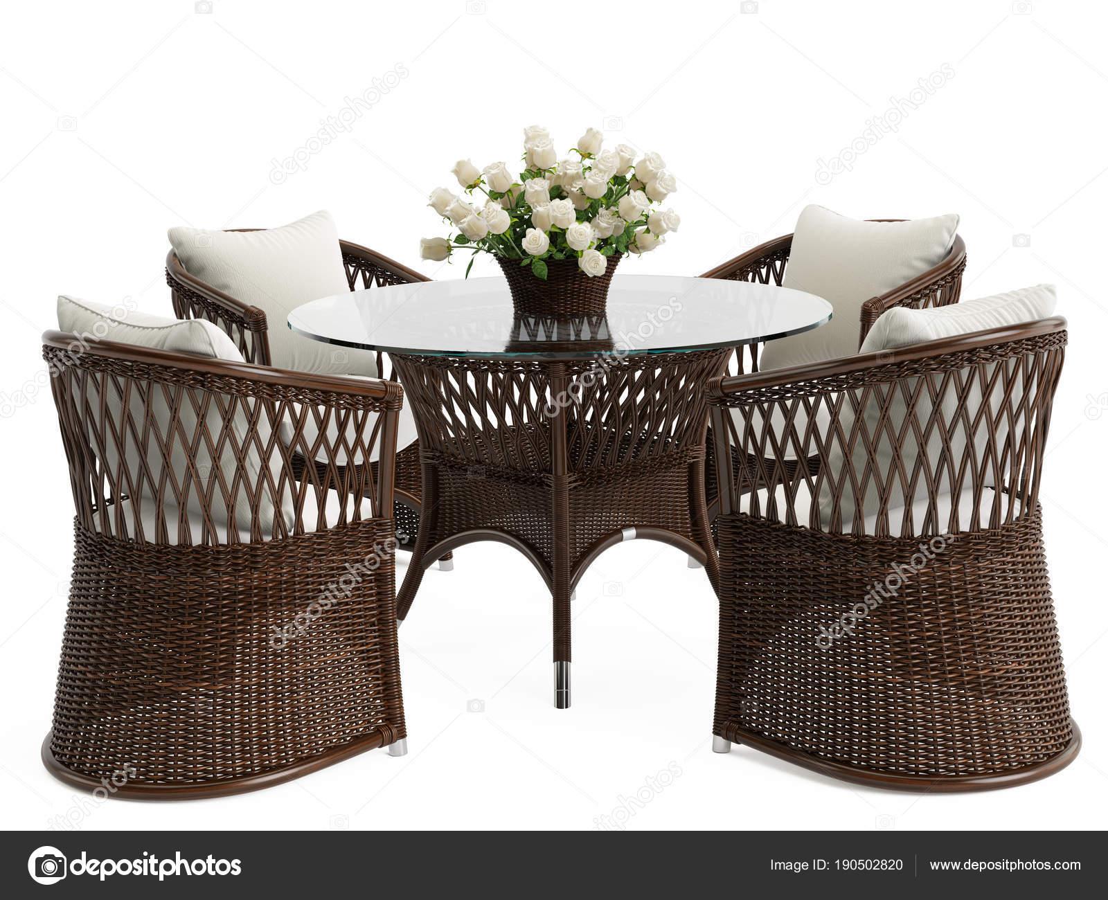 Garten Rattan Tisch Mit Blumenstrauß Isoliert Und Korbsessel Auf