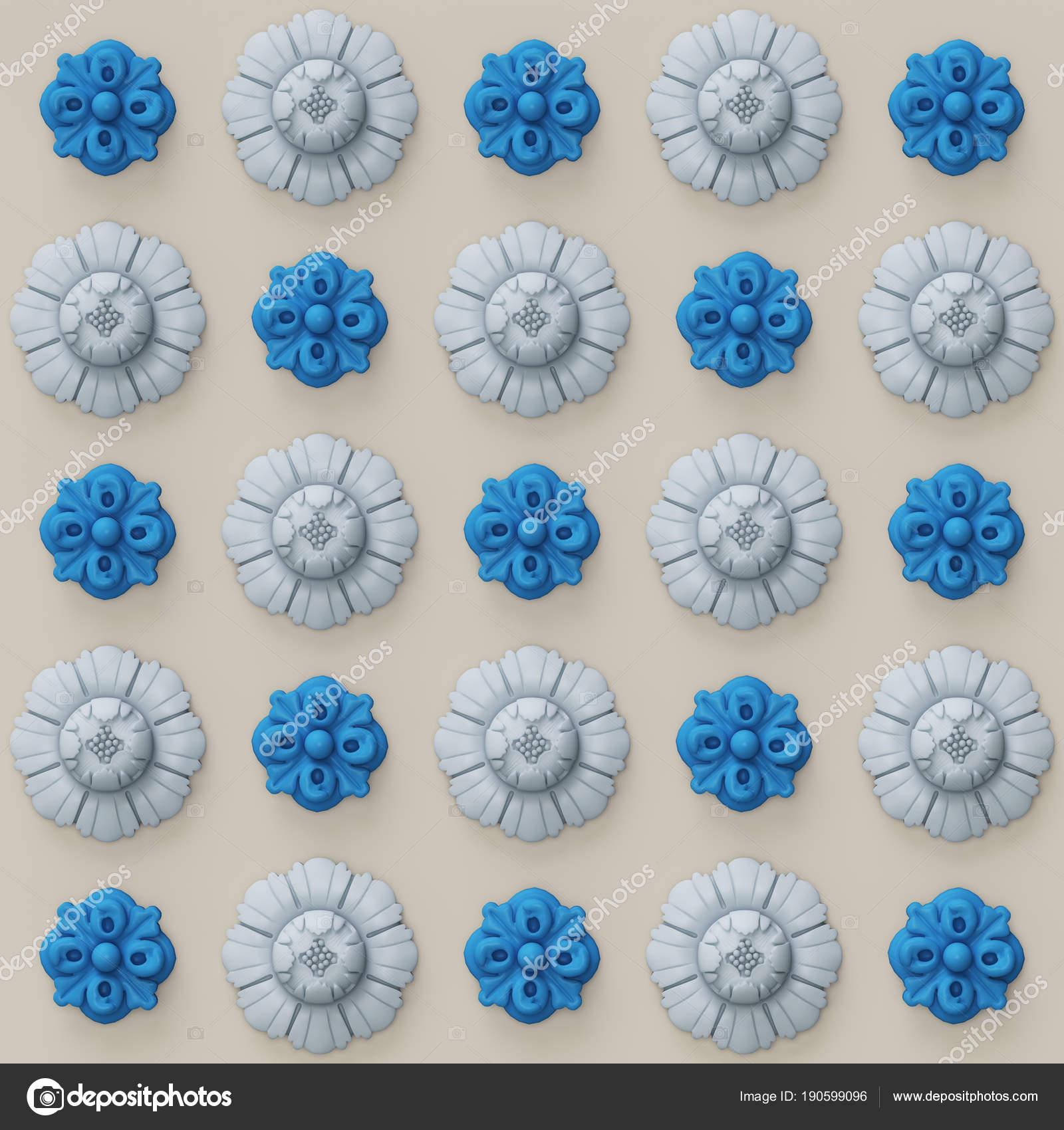 Render digital illustration blue light blue flowers gray warm 3d render digital illustrationblue and light blue flowers on gray warm backgroundpattern photo by remuhin izmirmasajfo