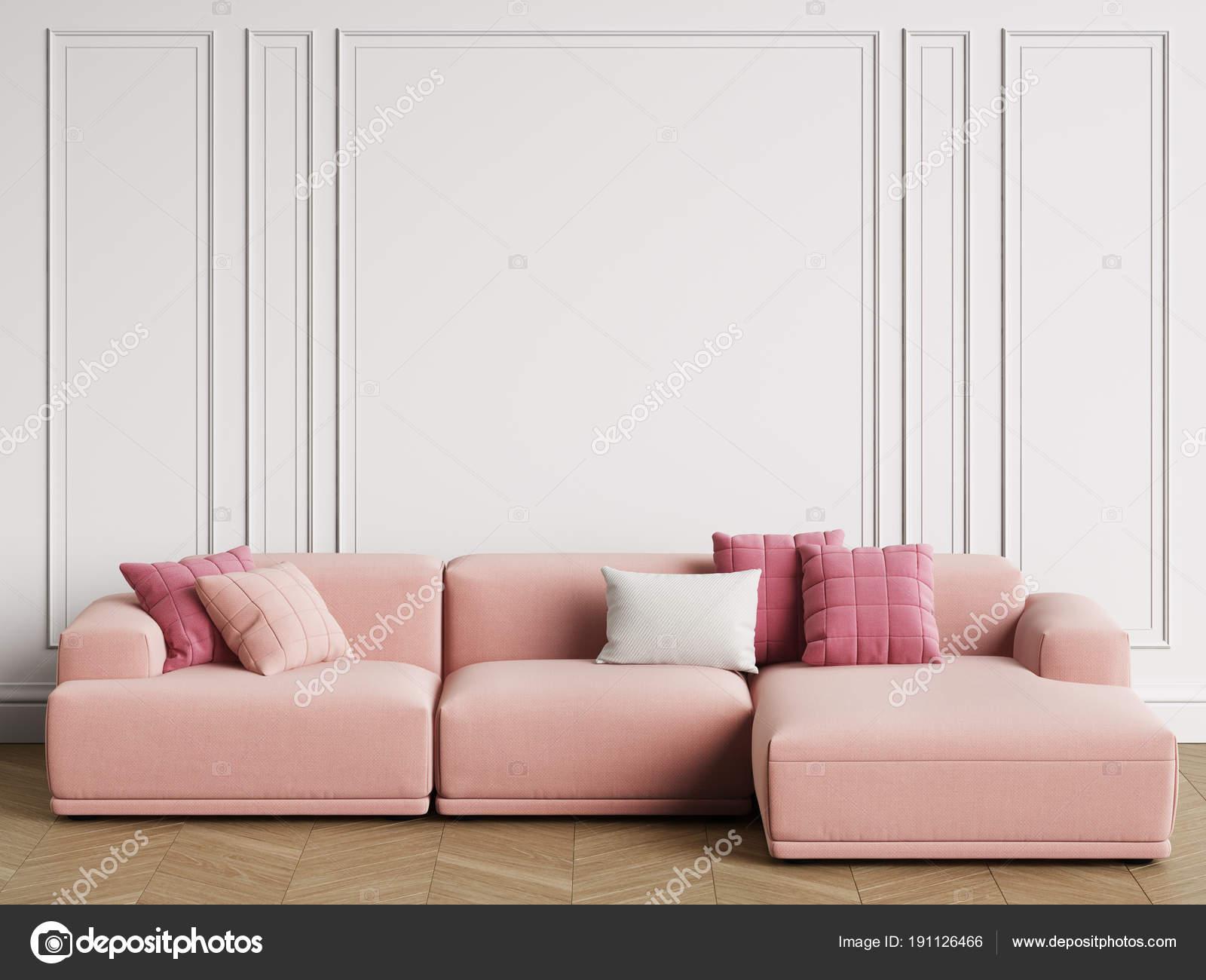 Modernes Skandinavisches Design Sofa Innenraum Wände Mit Formteile ...