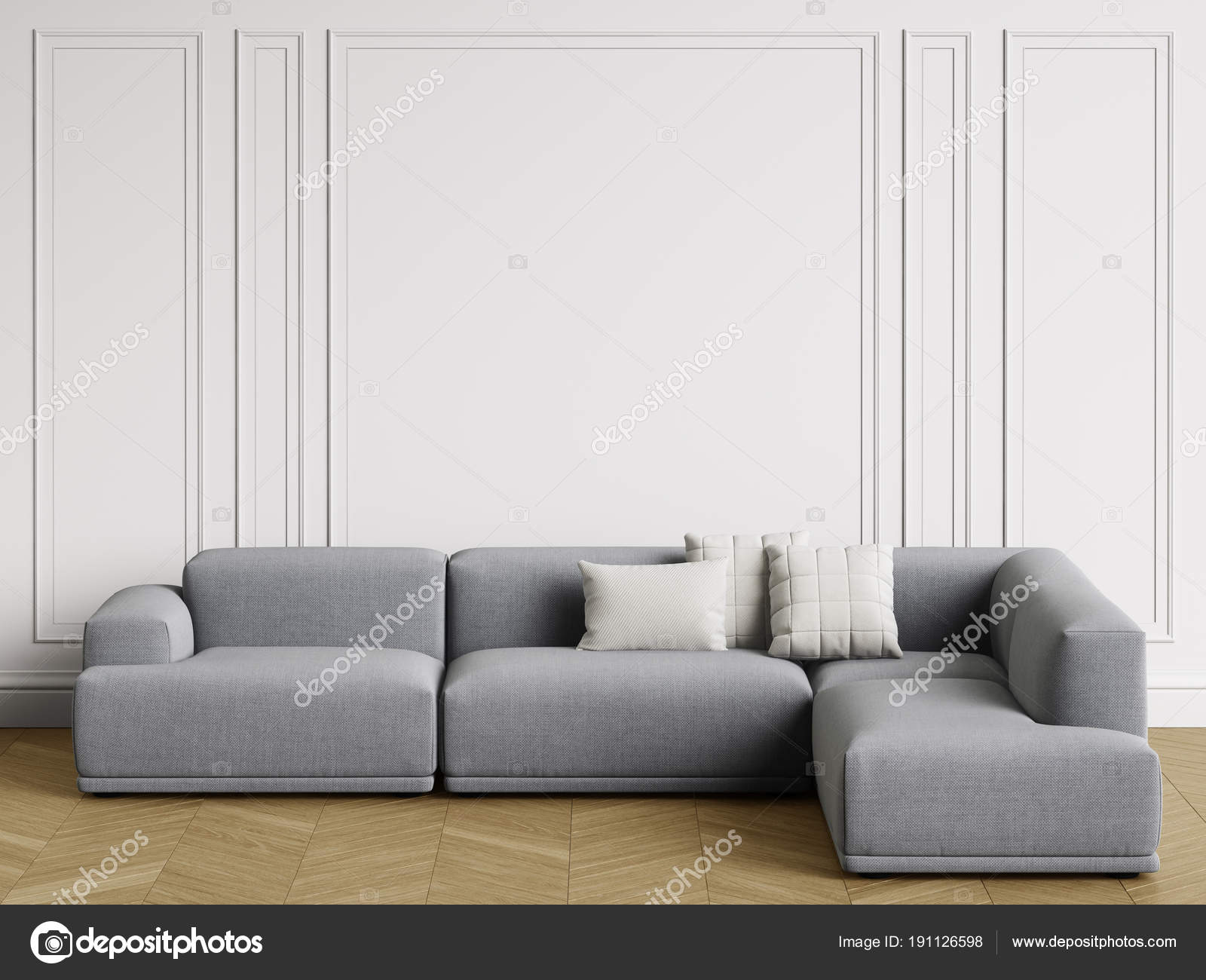 Modern Scandinavian Design Sofa Interior Walls Moldings Floor ...