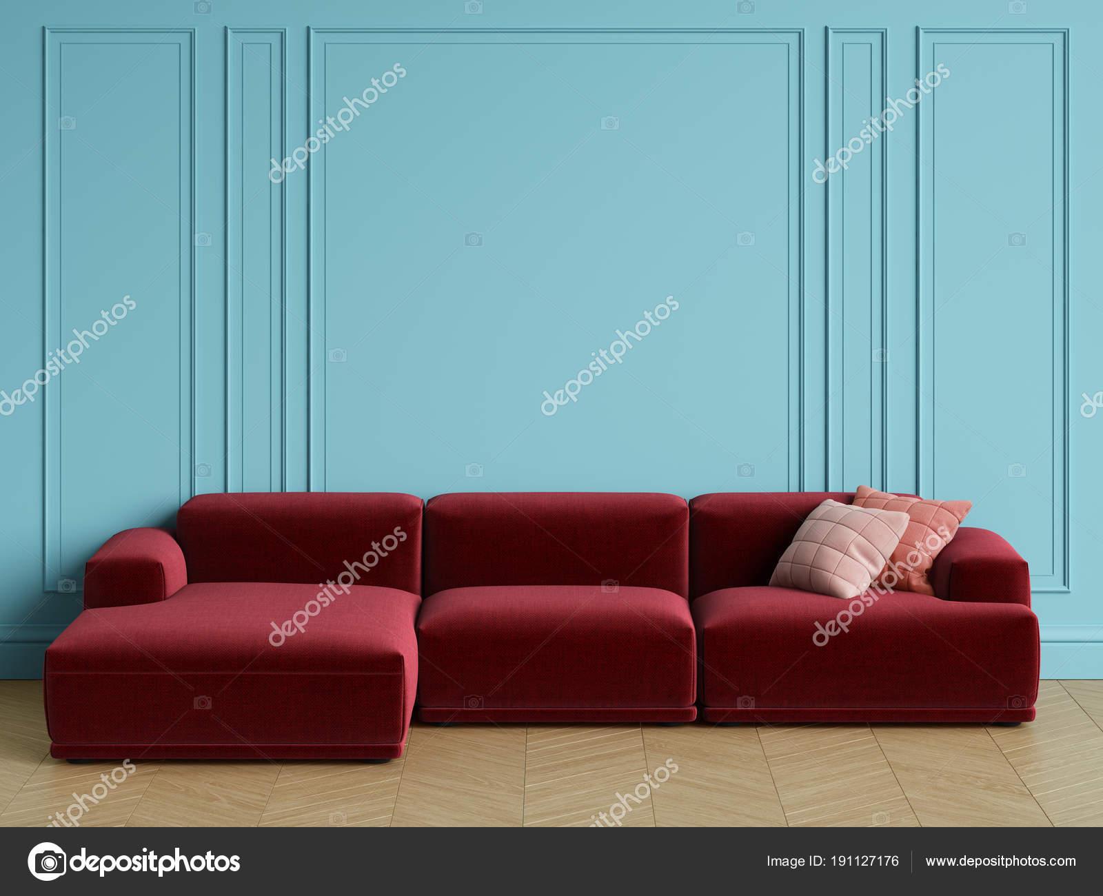 Brilliant Modern Scandinavian Design Red Sofa Interior Blue Walls Customarchery Wood Chair Design Ideas Customarcherynet