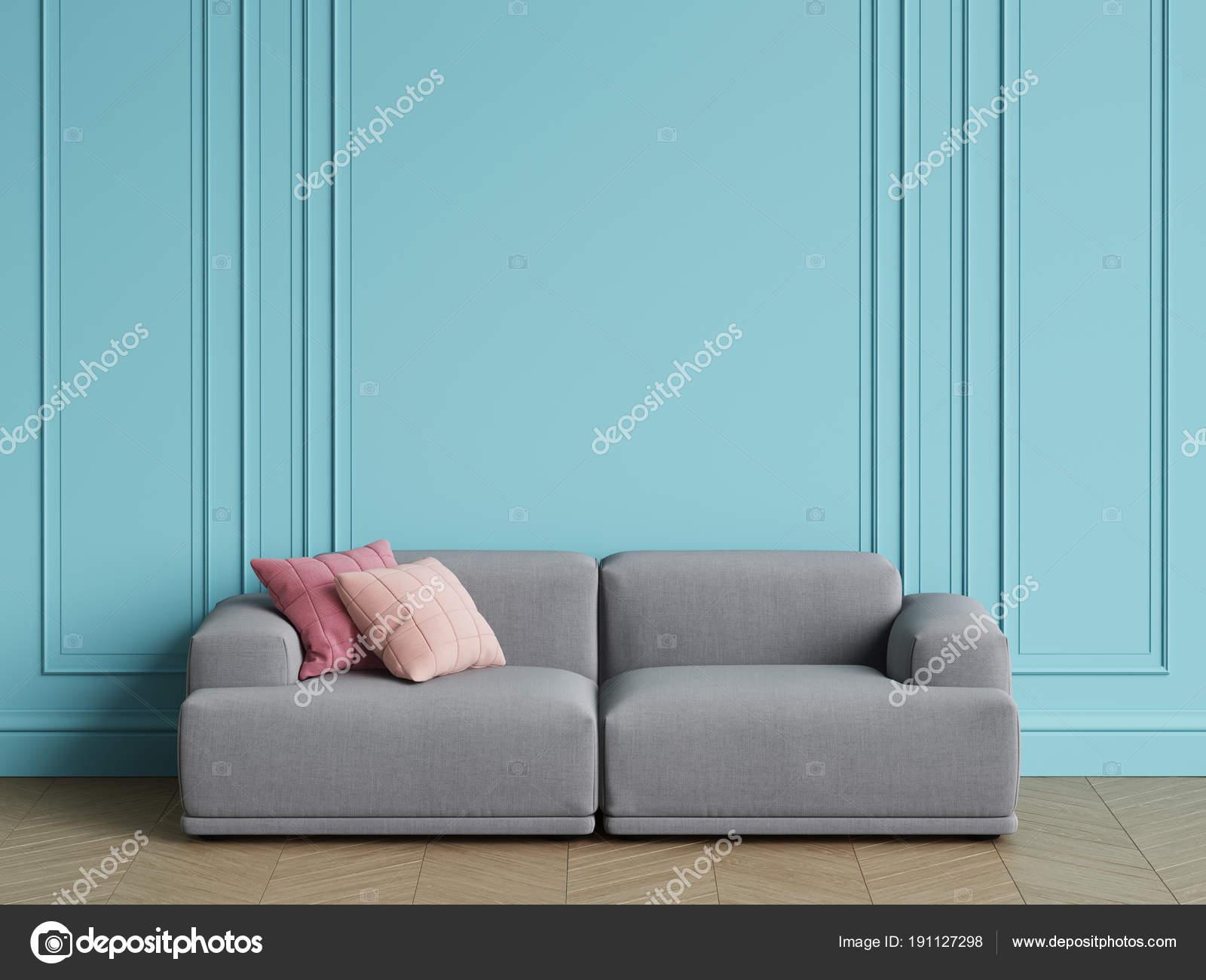 Stupendous Modern Scandinavian Design Grey Sofa Interior Blue Walls Inzonedesignstudio Interior Chair Design Inzonedesignstudiocom