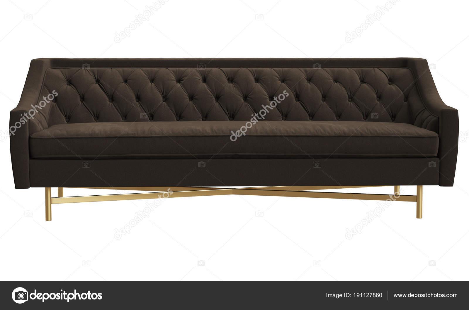 Classic Tufted Sofa Isolated White Background Digital Illustration