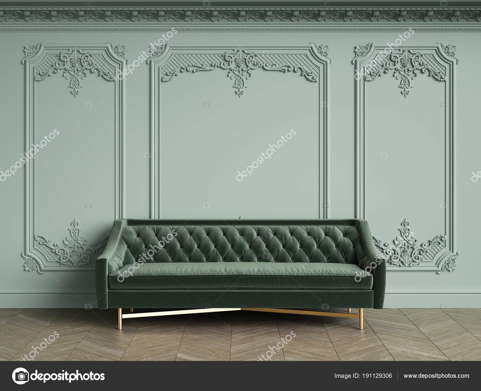 Green Tufted Sofa Classic Vintage Interior Copy Space Pale Olive U2014 Stock  Photo