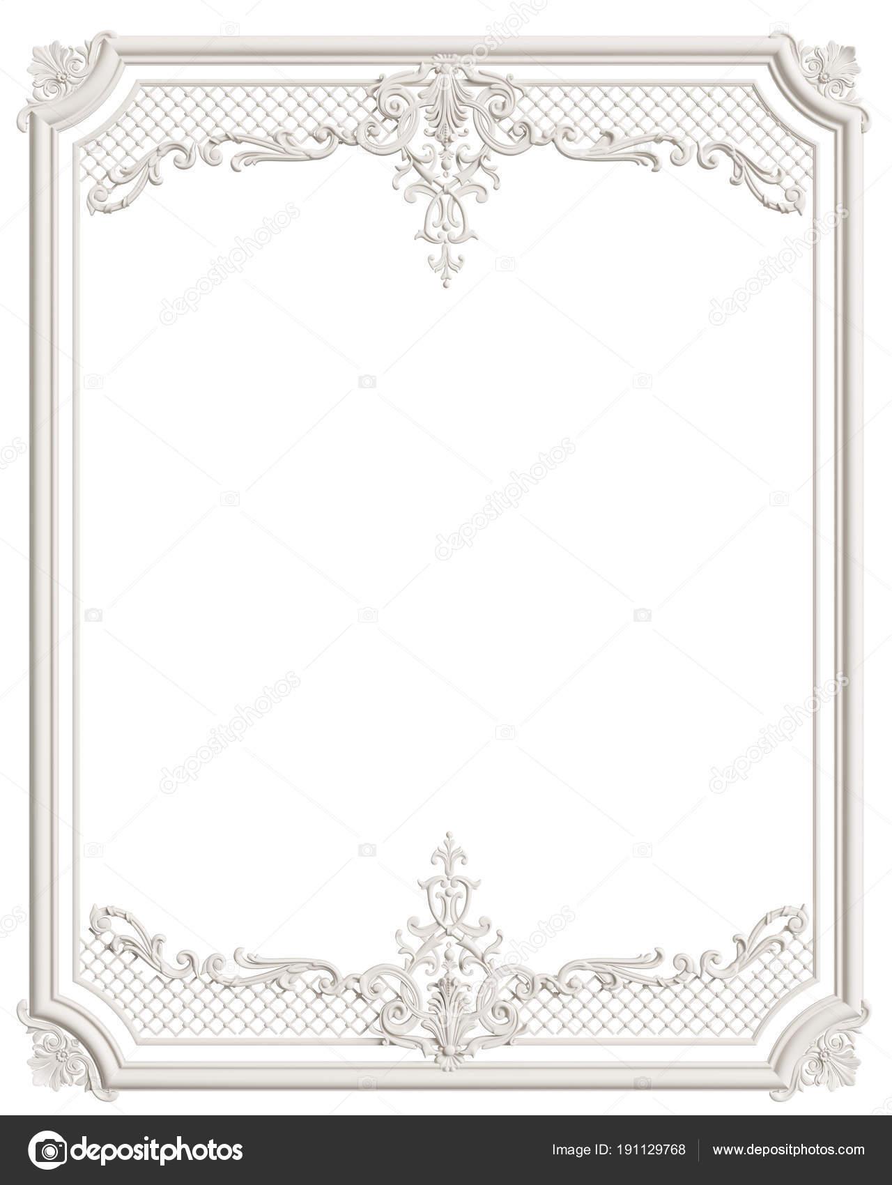 Moldura marco blanco con adorno para la decoración de int clásico ...