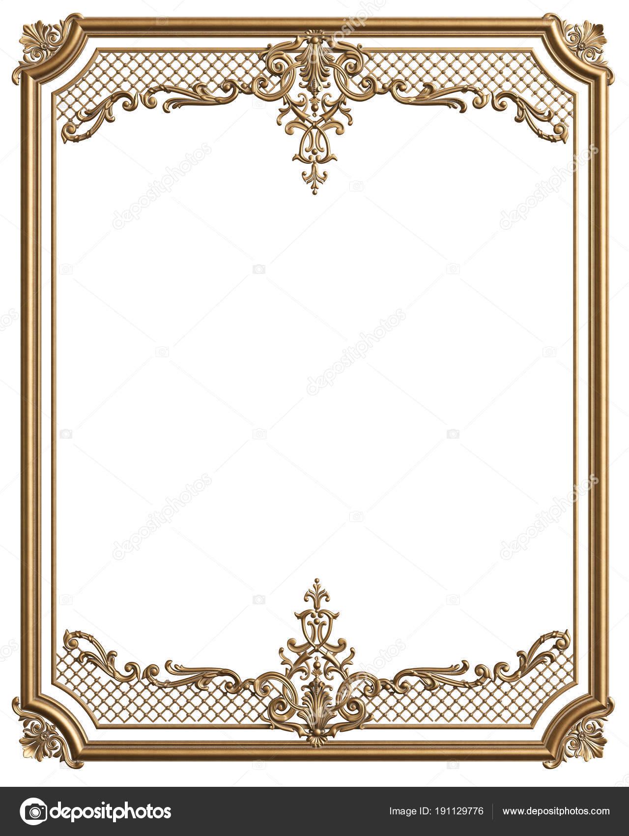 Moldura marco de oro con adornos para la decoración de clásico en ...