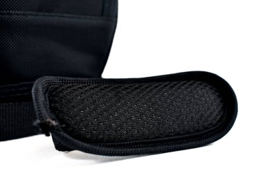 black camera bag on a white background