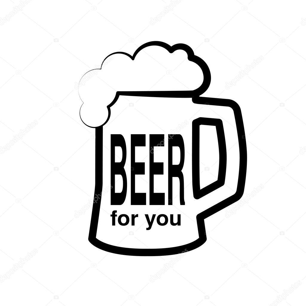 Símbolo Blanco Y Negro De Cerveza Archivo Imágenes Vectoriales