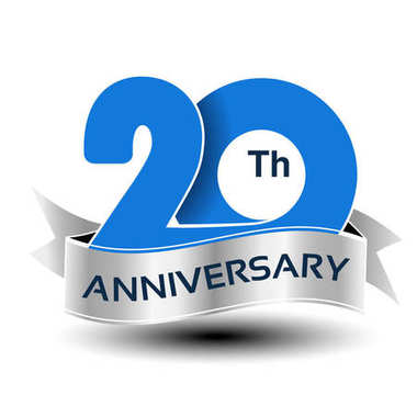 Vector 20 years anniversary, blue number with silver ribbon - illustration