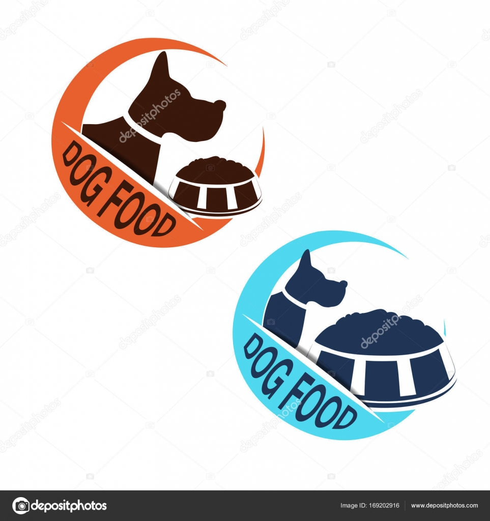 Vector dog food label silhouette dog bowl feed circular blue stock circular blue and orange dog food symbols isolated on white background for produkt design packaging or advertising biocorpaavc Gallery