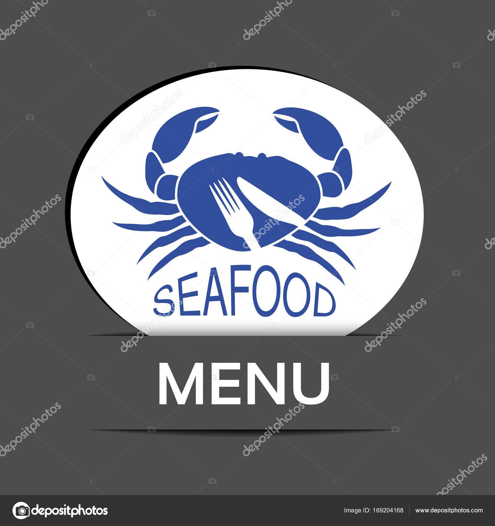 Crabe Avec Un Couteau vecteur Étiquette menu blanc avec silhouette crabe symbole couteau