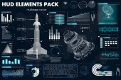 Space launch rockets, elements set HUD, dashboards