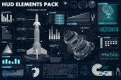 Prostor startu rakety, prvky nastavena Hud, řídicí panely