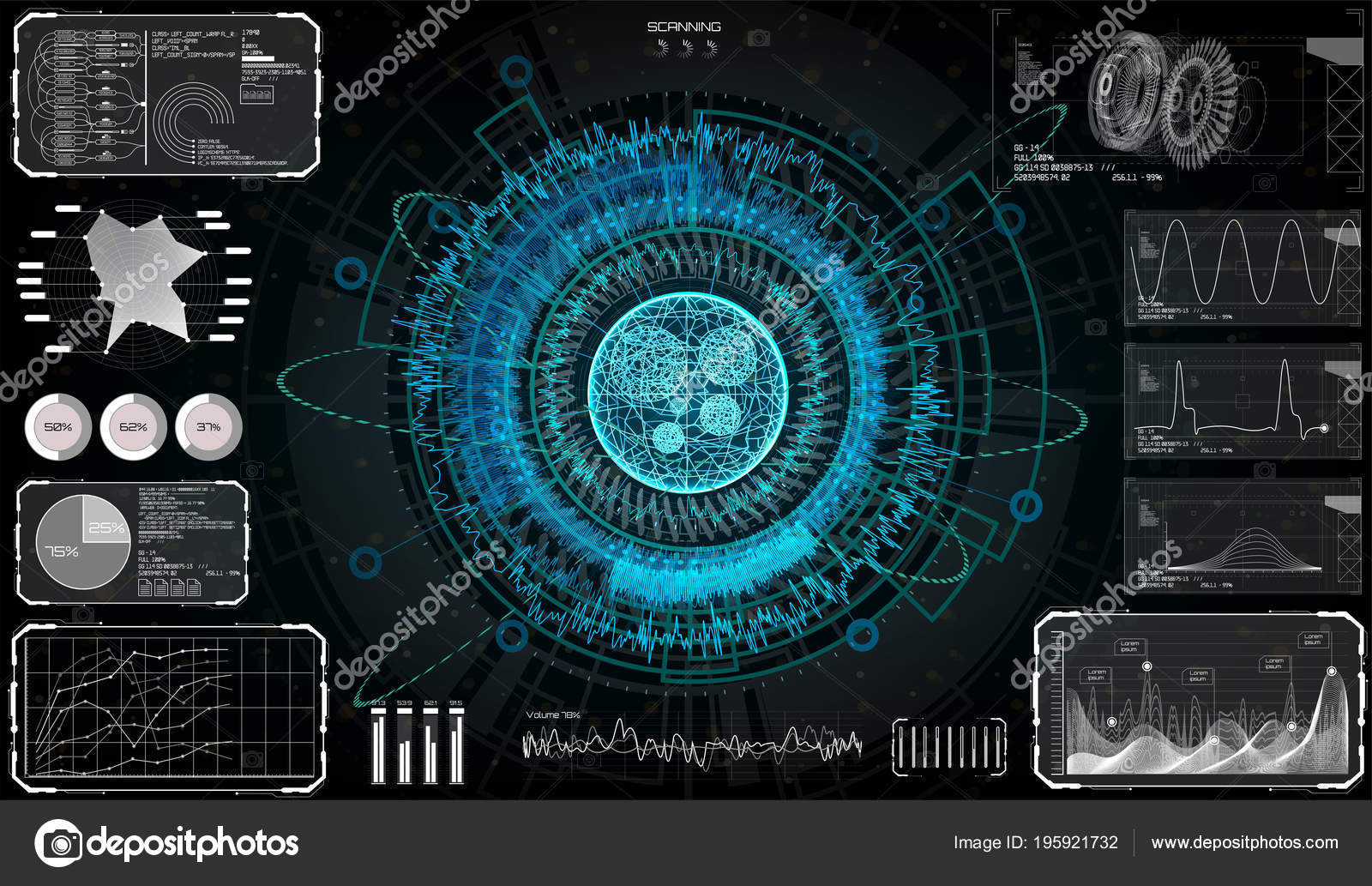 futuristic sci fi modern user interface set hud stock vector