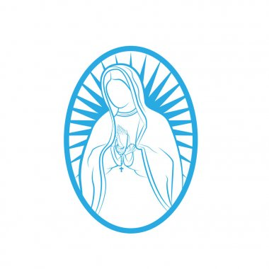Our Lady Vector Logo illustrations outline template. Our Lady of lourdes, Blessed Mary Logo vector design template.
