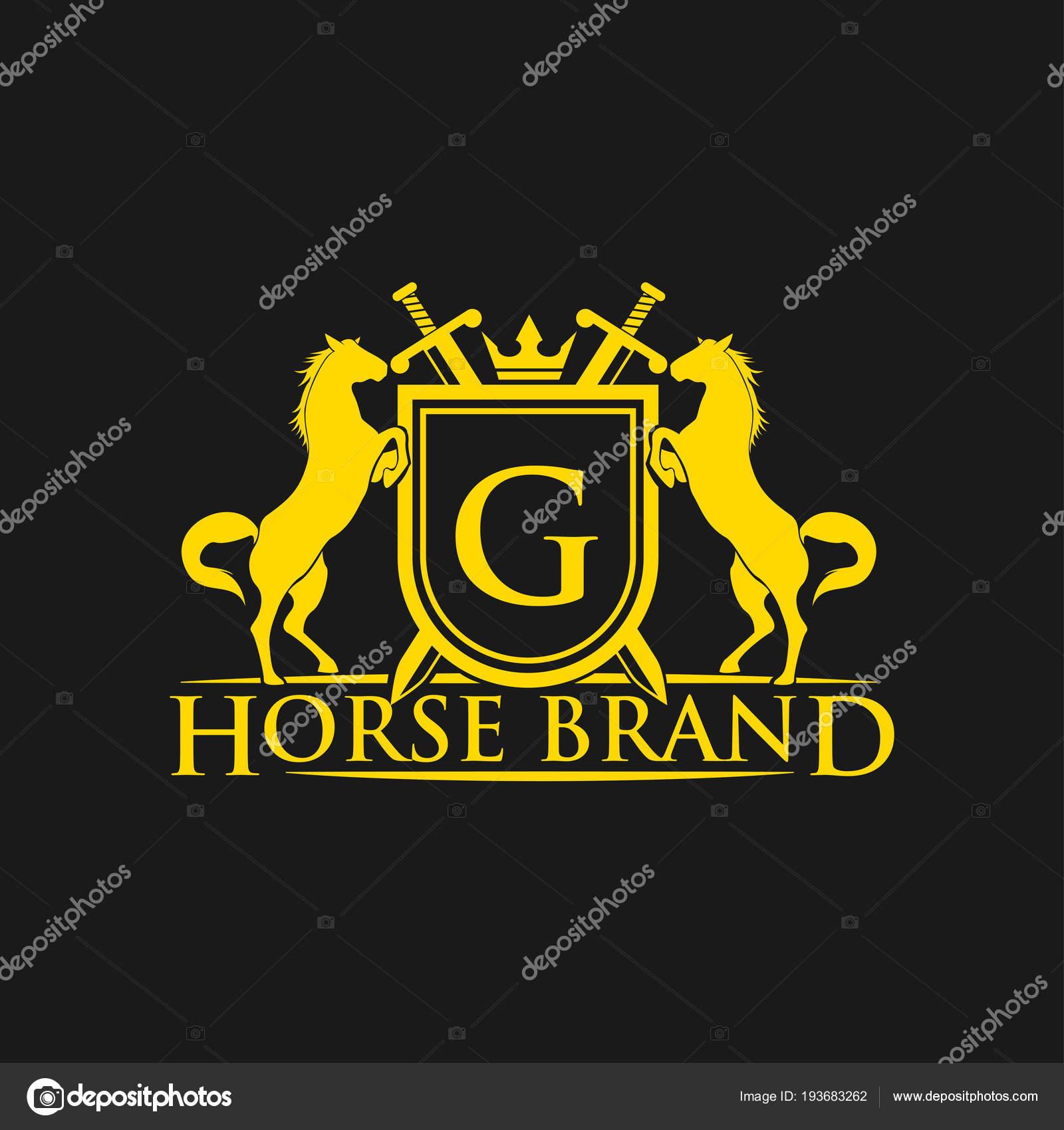 Ersten Buchstaben Logo Pferd Brand Logo Design Vektor Retro Goldene