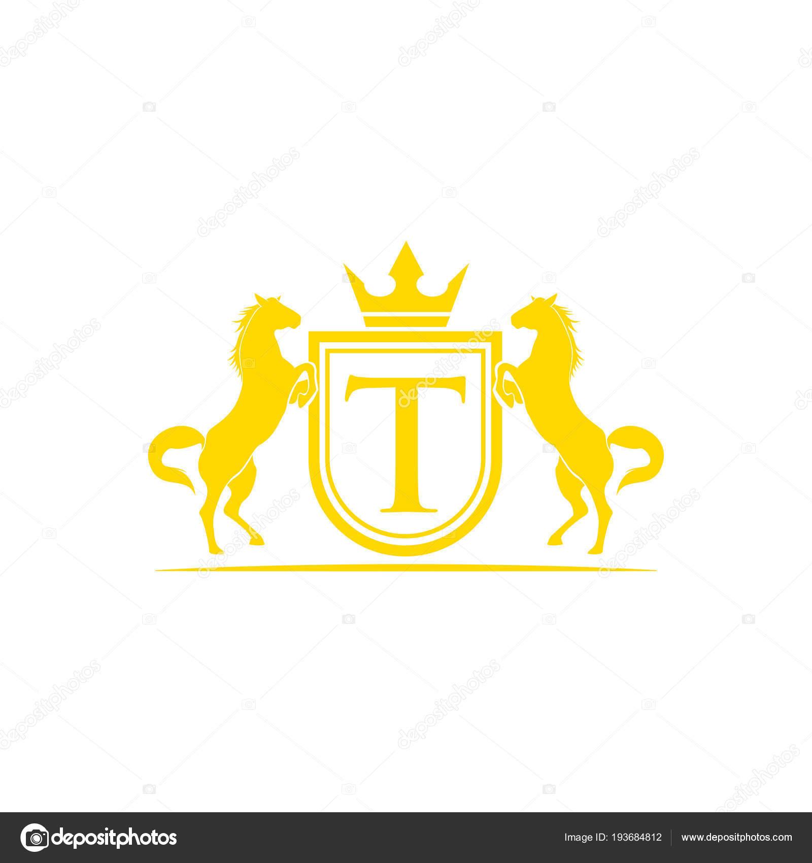 Initial Letter Logo Horse Brand Logo Design Vector Retro Golden Stock Vector C Alfianiqbal 193684812