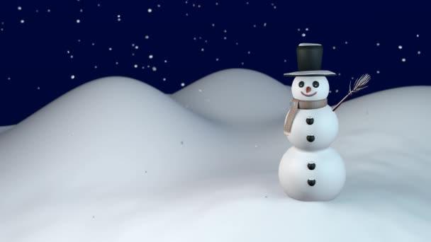 Winternacht mit Schneemann
