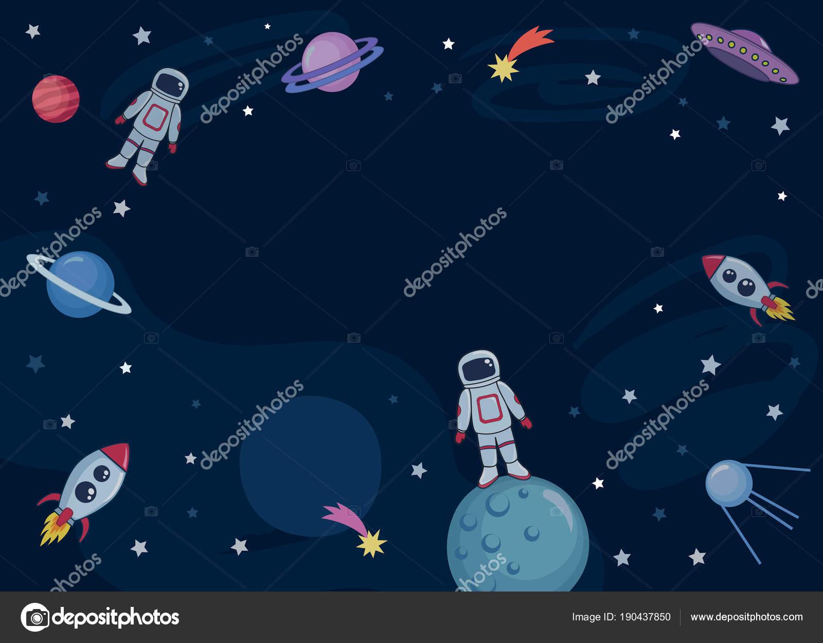 Plantilla Lindos Colores Fondo Con Espacio Marte Ovni Cohetes Naves ...