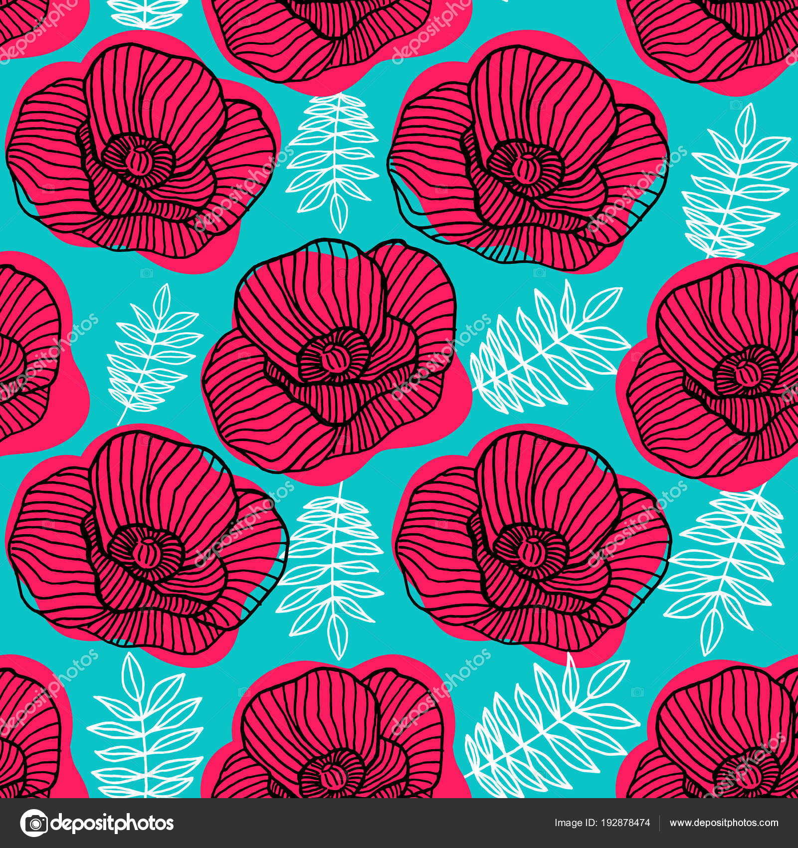 Spring Bright Seamless Floral Pattern Hand Drawn Red Poppy Flowers ...