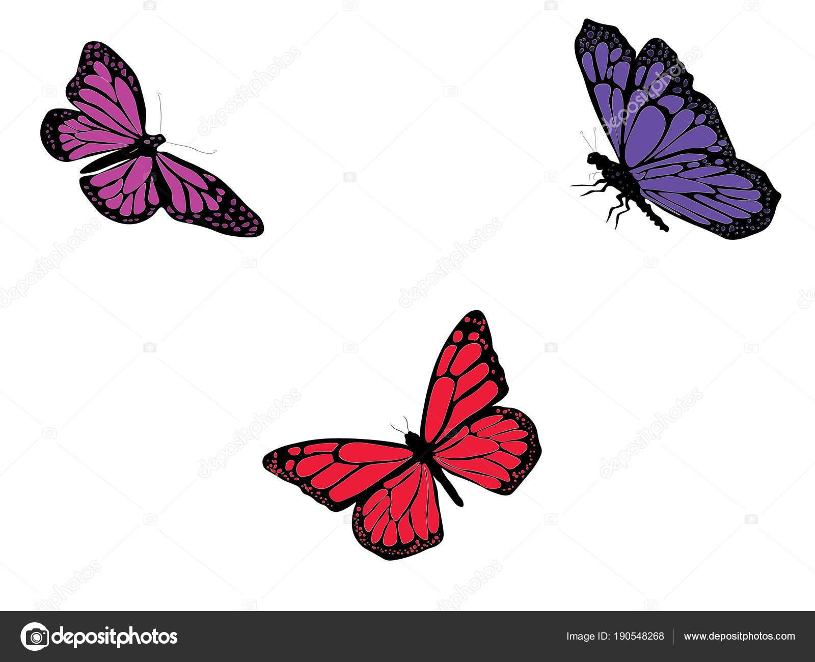 Digitalni Kresba Tri Izolovane Sviticich Motylu Cervene Fialove