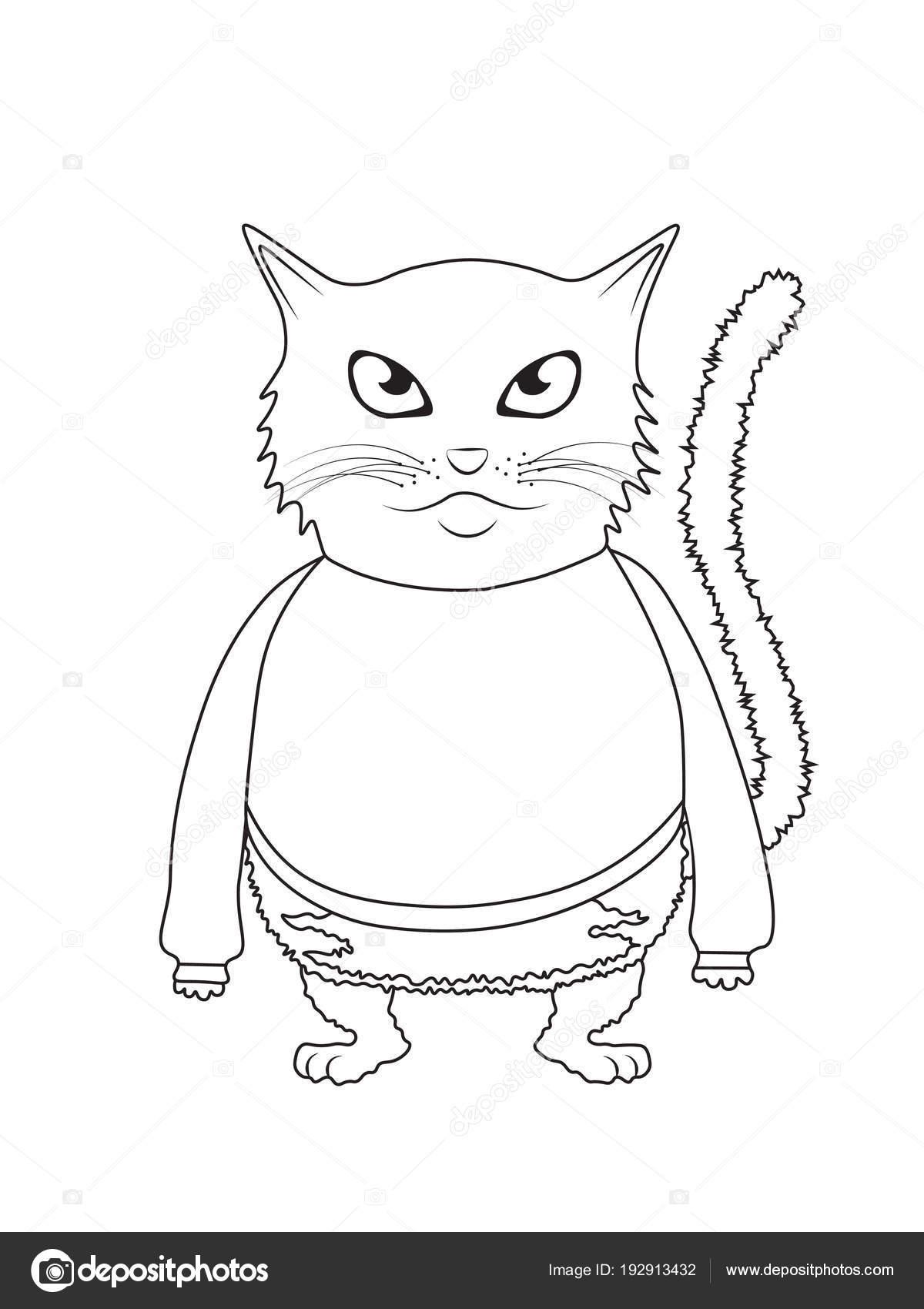 Illüstrasyon Izole Komik Kedi Silueti Boyama Kitabı Için Anahat