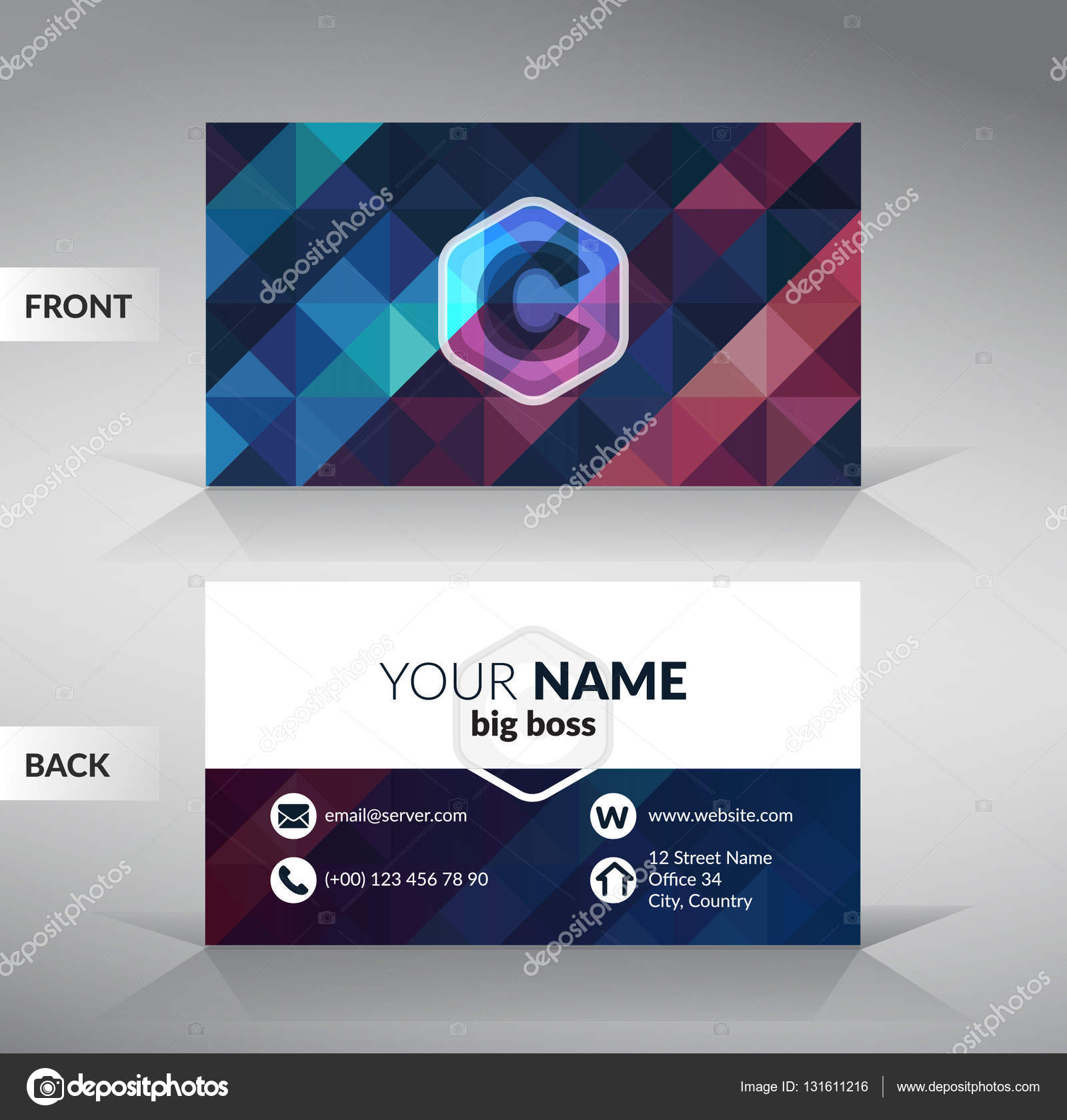 Colorful stylish business card template with modern triangular ...