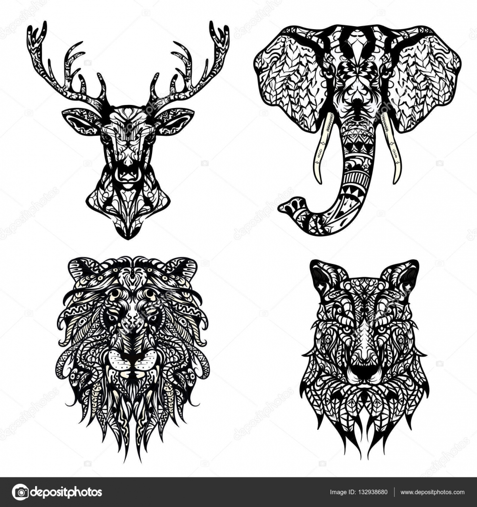 Set Of Patterned Heads Lion Deer Wolf And Elephant