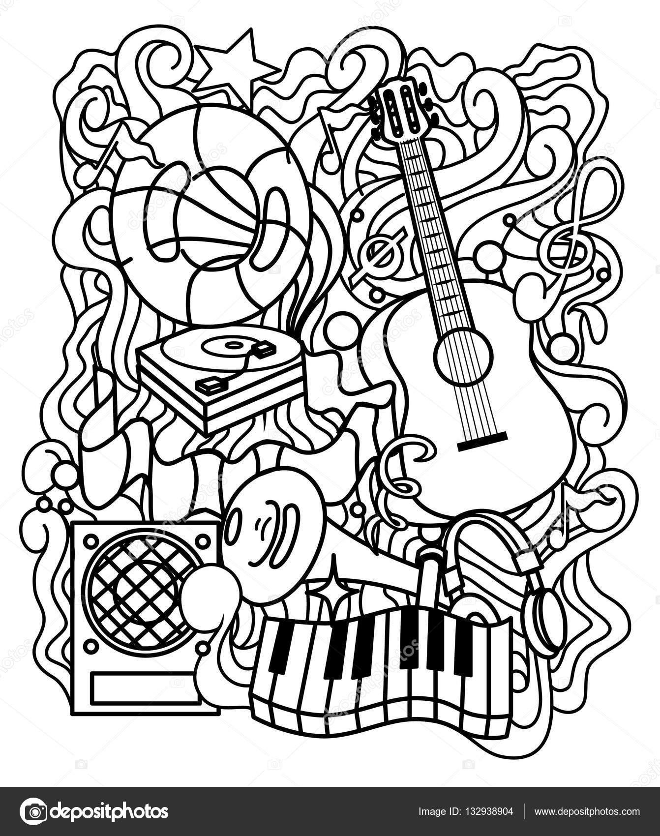 Zen-enredo musical ornamento para colorear página o relajarse para ...