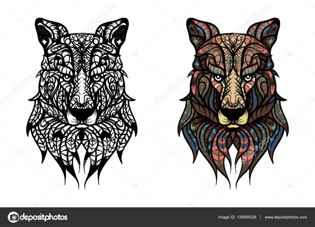 Dibujos: elefantes para tatuar | Cabeza de lobo dibujado a mano con ...