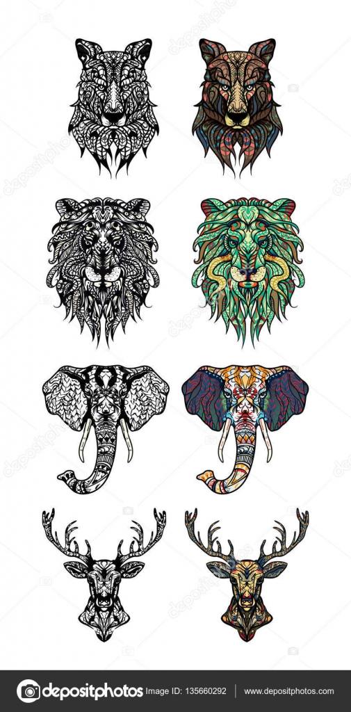 Sistema de modelado de cabezas de León, ciervo, lobo y elefante ...