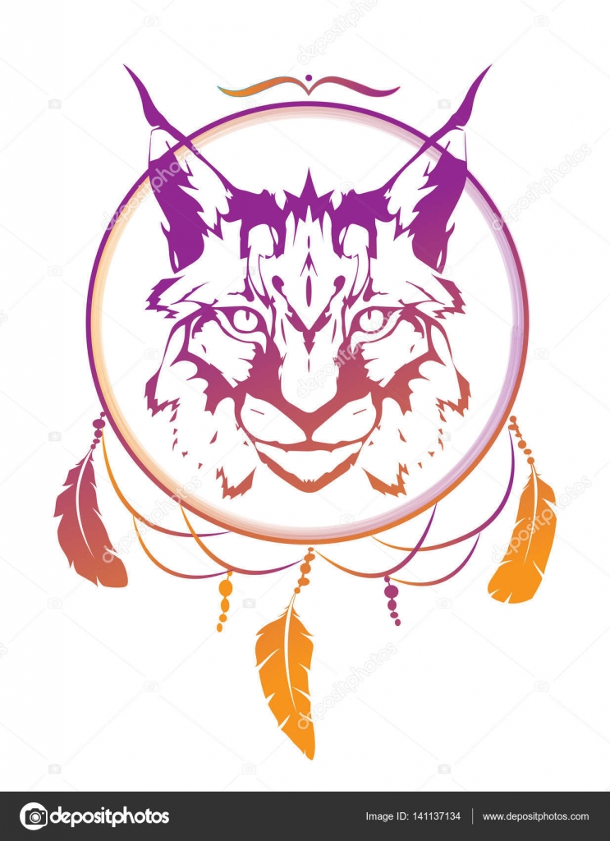 Gato salvaje, animal totémico de lince en estilo azteca. Tribal ...