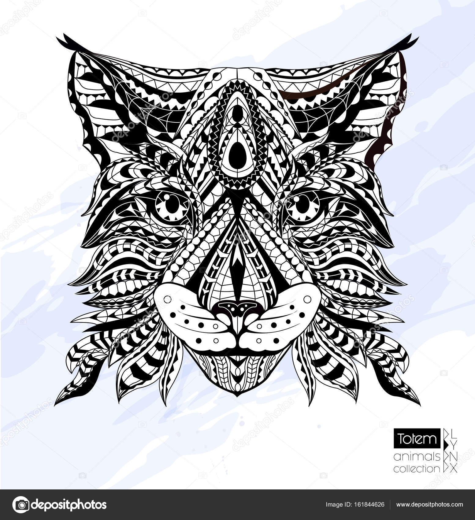 Patterned Head Of Lynx Wild Cat Adult Anti Stress Coloring Page