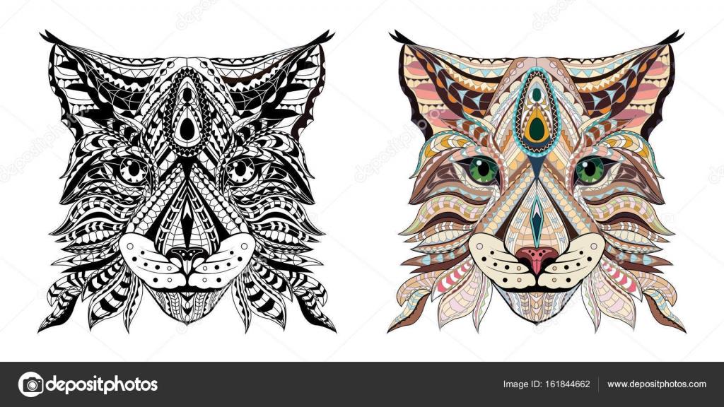 Patrón cabeza de lince / wild cat. Página para adultos anti-stress ...