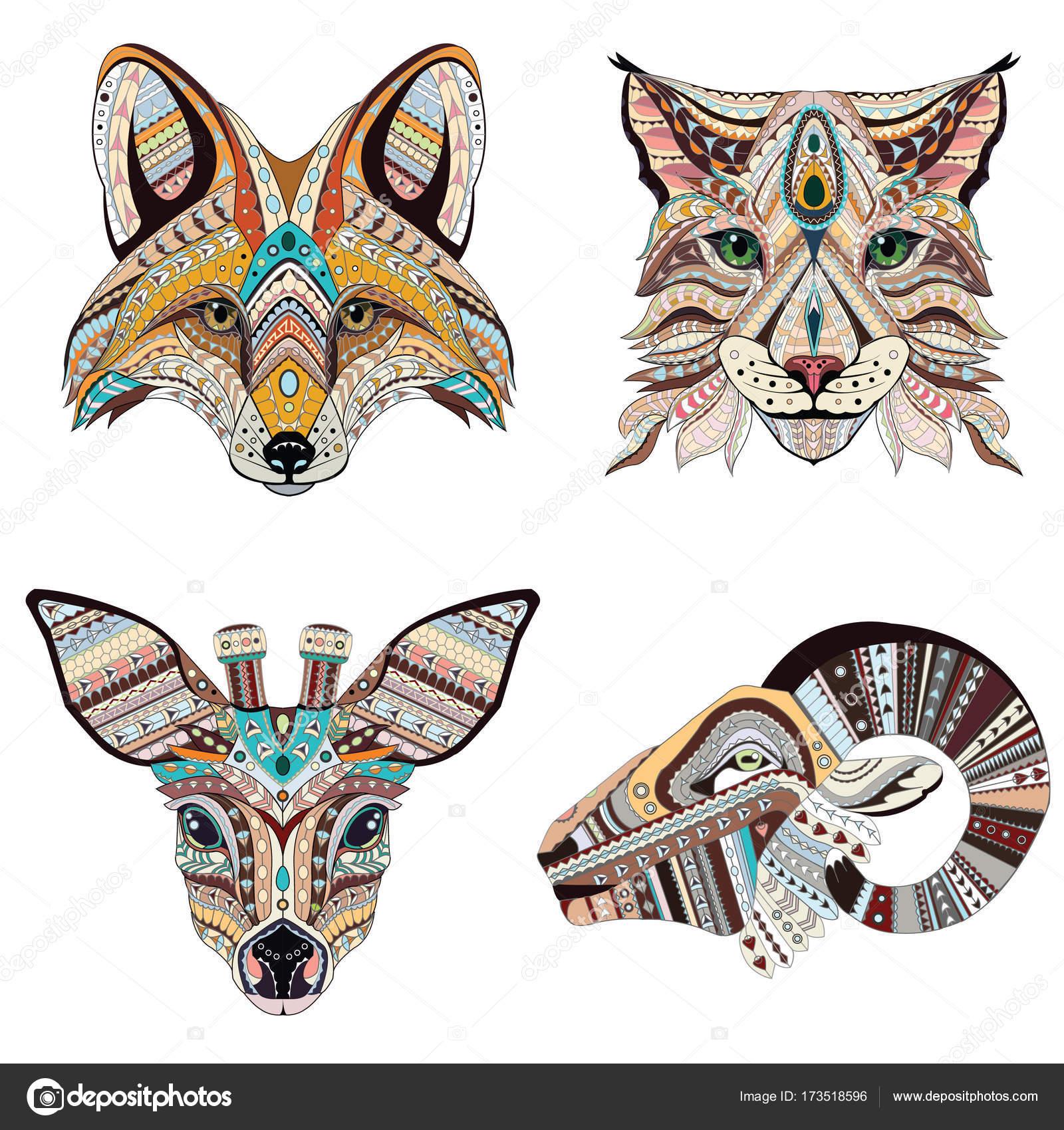 Set Patterned Hoofden Van Lynx Vos Reeen En Ram Volwassen