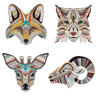Set of Patterned heads of lynx, fox, roe and ram. Adult anti-stress coloring book. Black white hand drawn doodle animal. African, indian totem / tattoo design. T-shirt, postcard, poster design