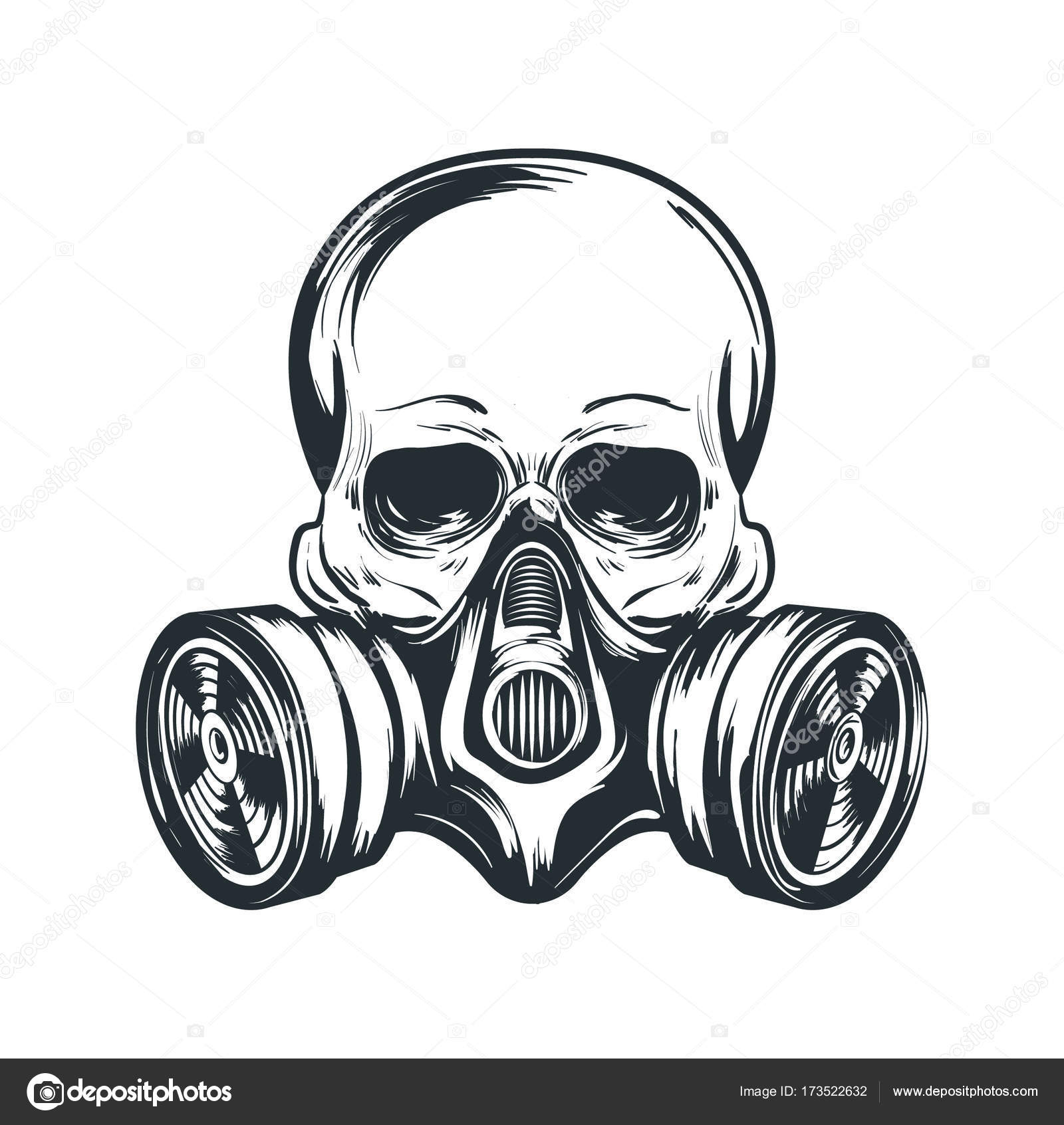 Skull In Gas Mask Illustration Toxicity Emblem Radiation Sign Can Be Used As