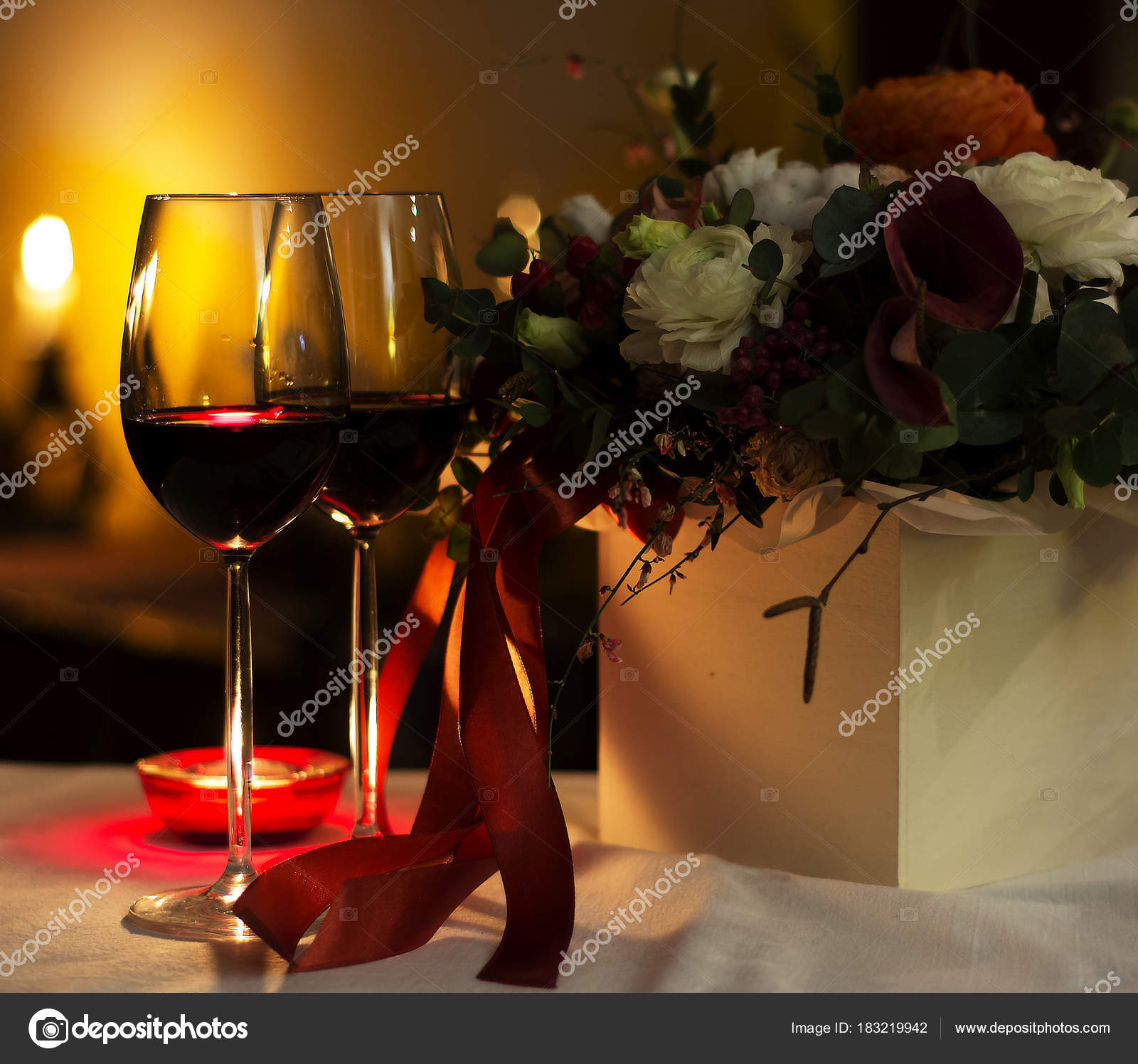Wine Glasses Candle Flowers Restaurant Table Setting Romantic - Wine glass table setting