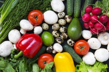 Composition with different fresh organic fruits and vegetables. Top view. Flat lay.