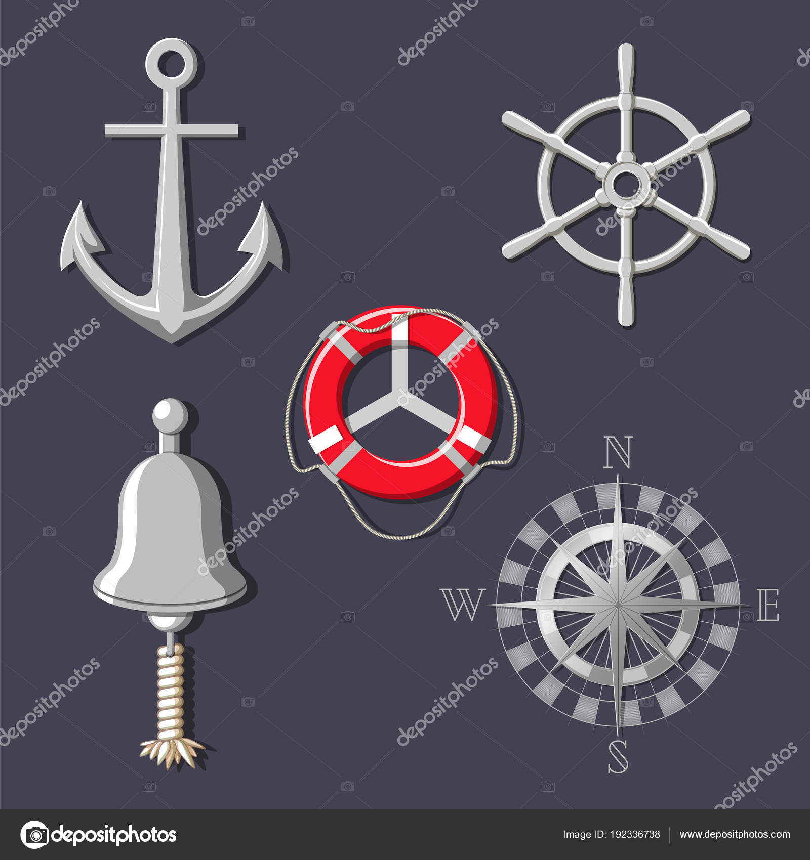 Metal Ships Wheel Boat Bell Compass Rose Anchor And Lifebuoy