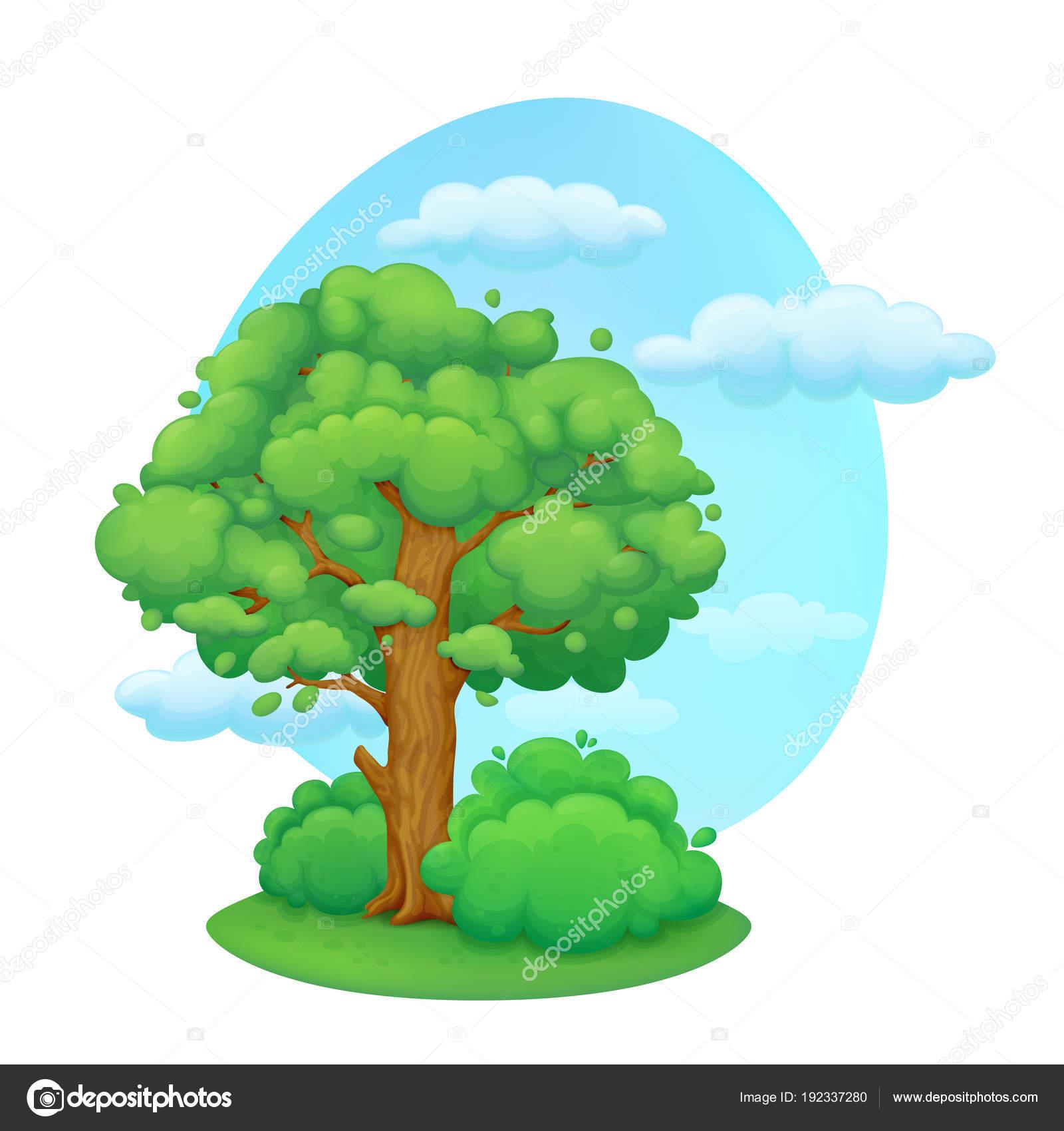 Vector Dia De La Primavera árbol De Dibujos Animados Con Arbustos