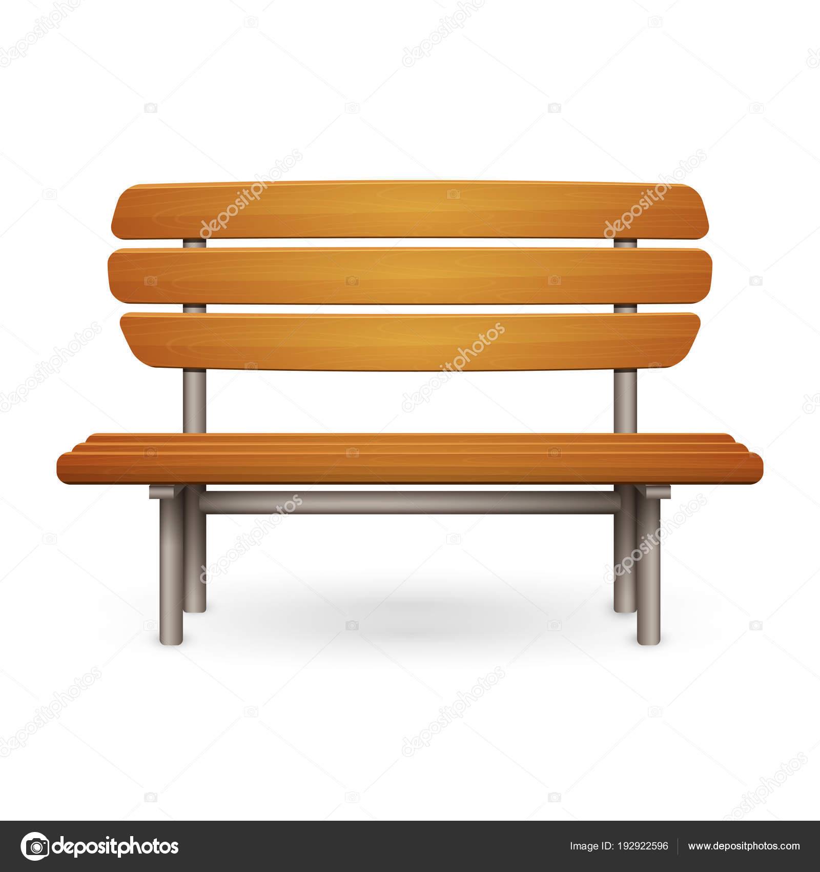 Empty wooden park bench with metal frame — Stock Vector © JudgeBat ...
