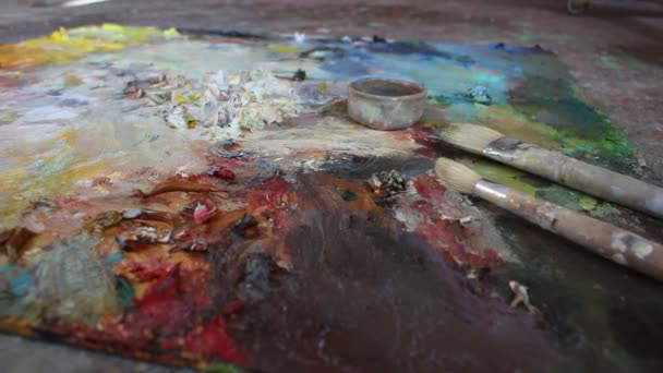 An artists palette. Mixing oil colour palette