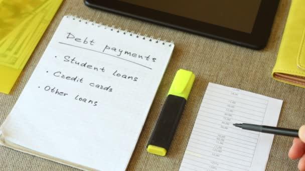 Seznam plateb rodinných dluhů. Měsíční plán rozpočtu. Splátky dluhu: studentské půjčky, kreditní karty a jiné půjčky