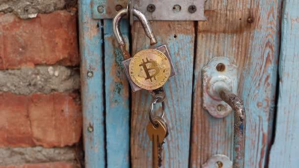 Bitcoin private Schlüssel. Bitcoin-Sicherheitskonzept. Bitcoins auf Vorhängeschloss