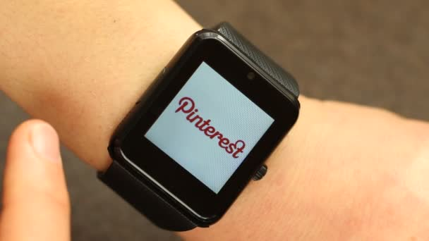Using A Smart Watch Device. Popular Social Media Sites